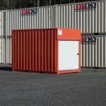 red 10 ft container roll door